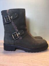 NEW UGG Niels Women's Moto Water Resistant Zip Leather Boots, Dark Green, Sz 5