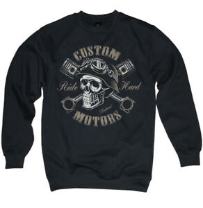 Biker Skull Pullover Garage Motorrad Schrauber Chopper Totenkopf Herren S-3XL