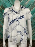Cabi Women's Boating Button-Down Top XS White Sheer Rope Nautical Short Sleeves