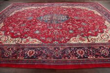 Vintage Traditional Floral RED Sarouk Large Rug Hand-Knotted Living Room 11'x14'