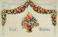 Rose Basket Hangs From Apple Blossom Garland~Mint Green Back~Art Nouveau~Emboss