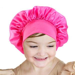 Baby Girls Sleep Night Cap Soft Bonnet Satin Adjustable Kid Boys Hat Head Wrap