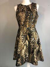 JLO Leopard Print Dress Exposed Gold Zipper Dress Size 10 Jennifer Lopez