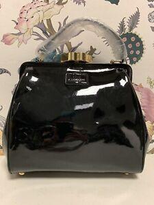 Lulu Guinness Small Eva Black Patent Leather Bag (W-3)