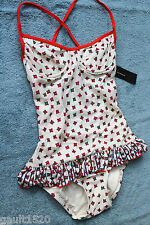 NWT Marc Jacobs Whisper White Ruffle OnePiece Underwire Floral Swim Suit XS $173