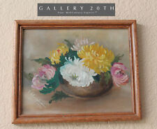 WOW! 1927 ORIG. FLOWERS OIL PAINTING! CHRYSANTHEMUMS STILL LIFE VTG ART DECO ERA
