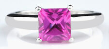 14KT White Gold Princess Shape 1.40 Carat Natural Pink Tourmaline Solitaire Ring