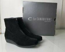 C La Canadienne Women Black Suede Ankle Wedge Heel Canadian Made Boots Sz 8 M