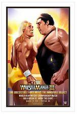 Original Andre the Giant vs Hulk Hogan Wrestlemania III Poster WWE /200 WWF Rare