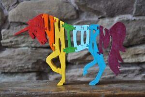 Rainbow Unicorn Horse Wood Puzzle Amish Made Scroll Saw Toy New Figurine