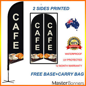 CAFE Deluxe Double Sided Feather Bow Banner Flag Kit Set Quality Business Sign