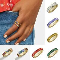 Women's Full Faux Crystal Inlaid Finger Ring Wedding Party Jewelry Gift Amazing