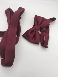 Boys Bow Tie And Suspenders Set Burgundy