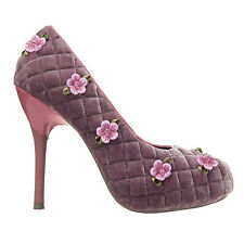 POETIC LICENCE QUILTER VELVET FABRIC SHOES SIZE 9.5 PURPLE HIGH HEELS FLOWERS (2