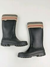 BURBERRY Black Rubber Rain Boots with Knit Fold Over Top Sz 5 US