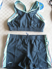 SPEEDO SWIMWEAR FEMALE ENDURANCE GREEN BLUE RADAR BOYLEG 2 PIECE UK SMALL CUT