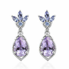 Dangle Drop Earrings 925 Sterling Silver Rhodolite Amethyst Jewelry for Women