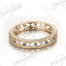 Eternity Genuine Sapphires Anniversary Band 10K Yellow Gold Wedding Party Ring