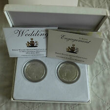 UK WILLIAM & CATHERINE ENGAGEMENT/WEDDING 2 x SILVER PROOF CROWN SET - complete