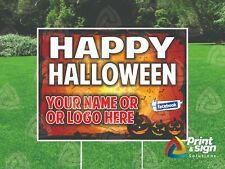 Happy Halloween 18x24 Yard Sign Coroplast Printed Double Sided With Free Stand