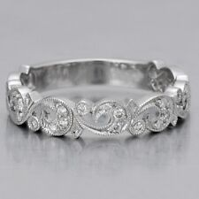 0.20 Ct F-G Vs Antique Floral Vintage Diamond Wedding Ring 14K White Gold Band