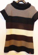 Damen Longshirt braun, weiß, grau-schwarz gestreift MANGUUN Gr. XL