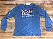 NWT Vineyard Vines Shirt Women Long Sleeve Large Whale Swimming Cornflower