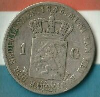 1845 Netherlands 1 Gulden~ 94.5% Silver- Decent Shape~