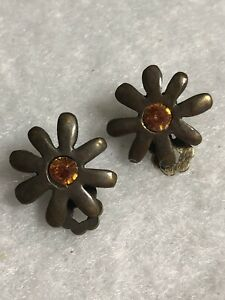 Modern Clip On Earrings Gun Metal Flower Orange Cabochon Jewellery Jewelry Retro