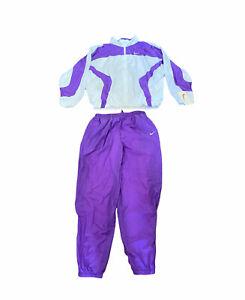 Nike   Windbreaker Tracksuit Set (Jacket & Pants)   Purple & White   Size Large