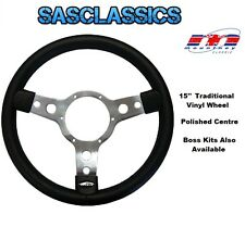 TRADITIONAL 15'' INCH MOUNTNEY STEERING WHEEL - POLISHED CENTRE - 53SPVB + APP