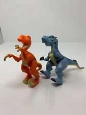 2014 Fisher-Price Imaginext Dinosaur Orange Raptor & Allosaurus Blue Figures