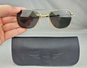 AO American Optical Gold Frame Original Pilot Aviator 52mm Sunglasses & Case #1