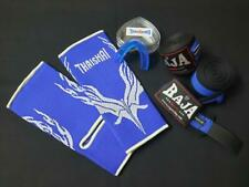 Thaismai vs Raja thaiboxing ankle guard-handwraps-mouth guard-blue