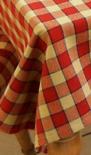 "39"" FARMHOUSE CHECK SQUARE TABLECLOTH - RED, BEIGE...."