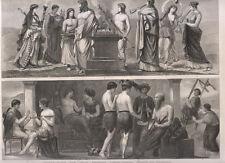 Abitudini di vita greche, sport, bellezza, musica, giochi 1850  xilografia