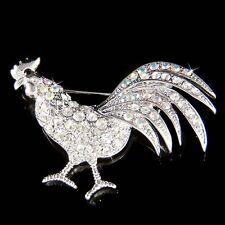 Rooster made with Swarovski Crystal Cockerel Chanticleer Cock Chicken Pin Brooch