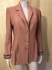 St. John Pink mauve fringe jacket blazer sweater size 4