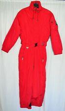Tyrolia Snowsuit One Piece Womens Petite Size 12 Solid Red Vintage 1980s Era Ski