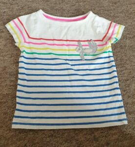 Mini Boden striped sloth t-shirt age 4-5 years