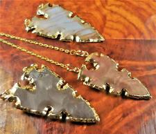 Arrowhead Necklace - Large Jasper Pendant - Gold Plated Jewelry (BB14)