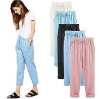 Plus Size Casual Women Cotton Linen Pants Elastic Waist Summer Slim Lady Pants