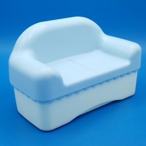 Little Tikes Place Miniatures Dollhouse Blue Couch Sofa 5542 Family Room Living