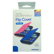 Samsung Flip Cover Case Bundle Pack For Samsung Galaxy S 3 Mini Blue & Pink
