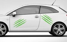 2X CLAWS GRAPHIC LIME GREEN VINYL DECAL STICKER  Car Van Windows SMOOTH SURFACE