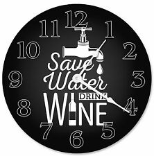"""SAVE WATER DRINK Wine Clock - Large 10.5"""" Wall Clock - 2266"""
