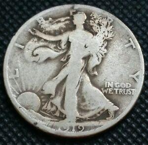 1919D walking liberty half dollar. No Reserve Auction! #303
