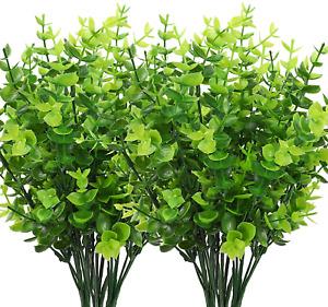 8 Pcs Artificial Greenery Plants Outdoor UV Resistant Fake Plastic Boxwood Shrub