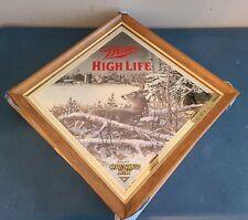(Vtg) Miller High Life Beer Wildlife Series Deer Diamond Wood Frame Mirror New