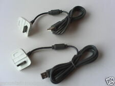 2 NEW Xbox 360 Wireless Replacement Controller USB Charging Cable Charger White